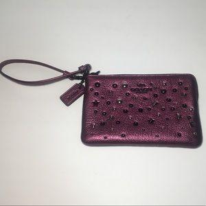 Purple Metallic Studded Coach Wristlet
